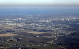 St Catharines aerial. Aerial view from above the Niagara Peninsula  St Catharines in the background  Ontario Canada Royalty Free Stock Photography