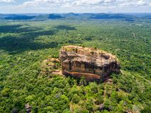 Aerial view from above of Sigiriya or the Lion Rock, an ancient fortress and a palace in Dambulla, Sri Lanka. royalty free stock photo