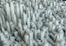 Aerial view of abstract city center. 3d illustration Royalty Free Stock Photography