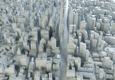 Aerial view of abstract city center. 3d illustration Stock Photo