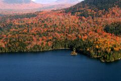 Aerial view of Acadia National Park with fall colors in New England, USA