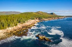 Aerial view of Acadia shore in Maine stock images