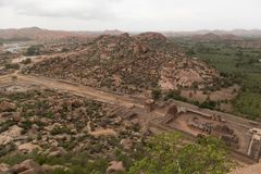 Aerial View of Achaturaya temple from the top of Matanga Hill, Hampi. Aerial View of Achaturaya temple from the top of Matanga Hill,Hampi royalty free stock image