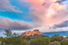 Acropolis Hill and Parthenon in Athens, Greece Royalty Free Stock Photography