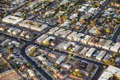 Aerial view across urban suburban community Royalty Free Stock Images