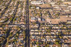 Aerial view across urban suburban community Stock Photography