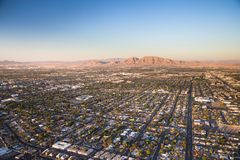 Aerial view across urban suburban community Royalty Free Stock Image