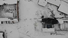 Aerial view of active old salt making factory in Drohobych. Abandoned salt factory. Smooth climb up, 4k stock video footage
