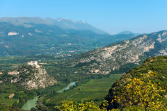 Aerial View of Adige Valley - Italy. Aerial view of the Adige Valley (Rivoli Veronese) and Peak of Monte Baldo in summer (Baldo Mountain) 2218 m. near the Garda Stock Image
