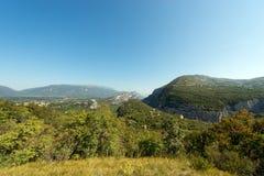Aerial View of Adige Valley - Italy. Aerial view of the Adige Valley (Rivoli Veronese) and Peak of Monte Baldo in summer (Baldo Mountain) 2218 m. near the Garda Royalty Free Stock Image