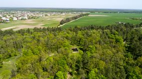 Aerial view of Adolf Hitler bunker remains. Residence werwolf near Vinnitsa, Ukraine.  royalty free stock image