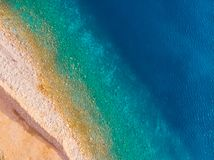 Aerial view of Adriatic beach, drone shot. Aerial view of beaches of Adriatic coast in Montenegro royalty free stock image