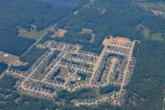 Tract housing in Georgia near Atlanta. Royalty Free Stock Photo