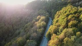 Aerial View against the sun by sunset. Car on a winding mountain road in the hills covered between trees and forest with stock video footage