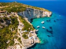 Aerial  view of  Agios Nikolaos blue caves  in Zakynthos Zante Royalty Free Stock Photography