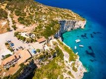 Aerial  view of  Agios Nikolaos blue caves  in Zakynthos Zante. Island, in Greece Royalty Free Stock Photo
