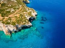 Aerial  view of  Agios Nikolaos blue caves  in Zakynthos Zante. Island, in Greece Stock Photo