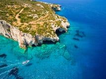 Aerial  view of  Agios Nikolaos blue caves  in Zakynthos Zante. Island, in Greece Stock Photography