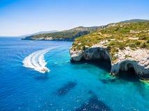 Aerial  view of  Agios Nikolaos blue caves  in Zakynthos Zante. Island, in Greece Stock Photos