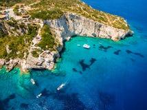 Aerial  view of  Agios Nikolaos blue caves  in Zakynthos Zante. Island, in Greece Royalty Free Stock Photos