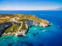 Aerial  view of  Agios Nikolaos blue caves  in Zakynthos Zante. Island, in Greece Royalty Free Stock Photography