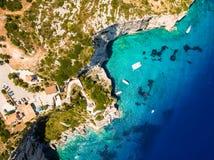 Aerial  view of  Agios Nikolaos blue caves  in Zakynthos Zante. Island, in Greece Royalty Free Stock Image