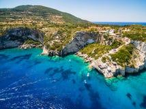Aerial  view of  Agios Nikolaos blue caves  in Zakynthos Zante. Island, in Greece Stock Image