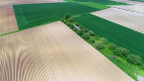 Aerial view of agricultural area in springtime stock video