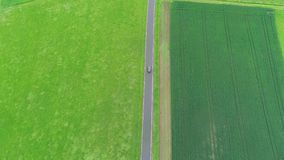 Aerial view of agricultural area in springtime stock video footage