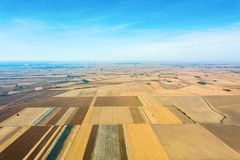 Aerial view of agricultural fields Autumn countryside. Agriculture stock photography