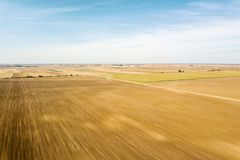 Aerial view of agricultural fields Autumn countryside. Agriculture royalty free stock photo