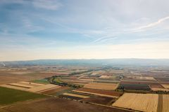 Aerial view of agricultural fields Autumn countryside. Food industry royalty free stock image