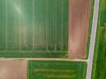 Aerial view of agricultural fields stock photo