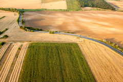 Aerial view of agricultural fields Royalty Free Stock Images