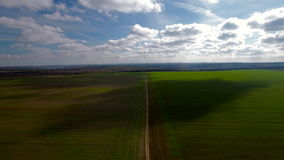 Aerial view of agricultural fields landscape, video stock video footage