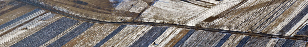Aerial view of agricultural meadows and fields Stock Photography