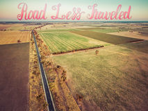 Aerial view of agricultural region at sunset - rectangles of fie Royalty Free Stock Photography