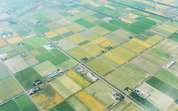 Aerial view of agriculture field in summer at chitose hokkaido japan Royalty Free Stock Images