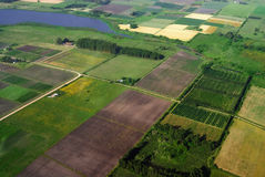 Aerial view of agriculture green fields Royalty Free Stock Photos