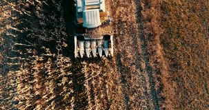 Aerial view of agriculture industry. Combine collecting corn stock footage