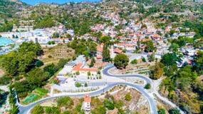 Aerial Agros village, Limassol, Cyprus royalty free stock photos