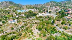 Aerial Agros village, Limassol, Cyprus stock image