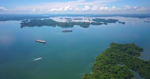 Aerial view of Agua Clara locks in Panama Canal stock footage