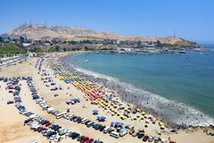 Aerial view of Agua Dulce beach in the district of Chorrillos royalty free stock photography