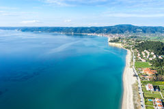 Aerial view of Aigeopelagitika beach in Halkidiki, Greece Royalty Free Stock Images