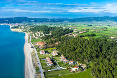 Aerial view of Aigeopelagitika beach in Halkidiki, Greece Stock Photography
