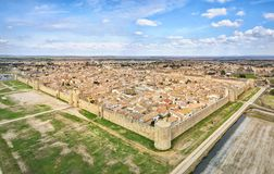 Aerial view of Aigues-Mortes medieval fortified town Stock Image