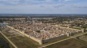Aerial view of Aigues-Mortes walled city in France Stock Image
