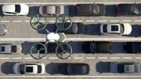 Aerial view, air bus in urban environment. 3d animation. 4k. Aerial view, air bus in urban environment stock video footage