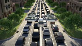 Aerial view, air bus in urban environment. Traffic jam.3d animation. 4k. Aerial view, air bus in urban environment. Traffic jam stock video